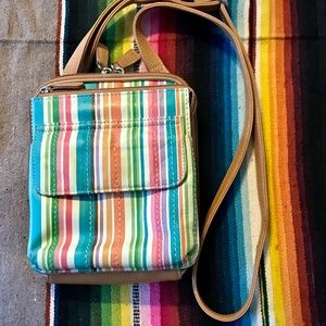 Fossil Striped Leather Small Cross Body Bag